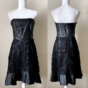 BeBe black leather and lace sleeveless dress